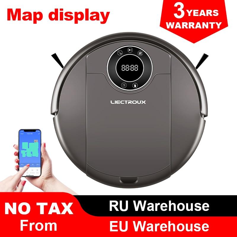 Robot Vacuum Cleaner ZK808 LIECTROUX, WiFi App, Mapa de Navegação, a Memória Inteligente, UV Esterilizar, mop Seco molhado, Sucção 3KPa, Motor Brushless