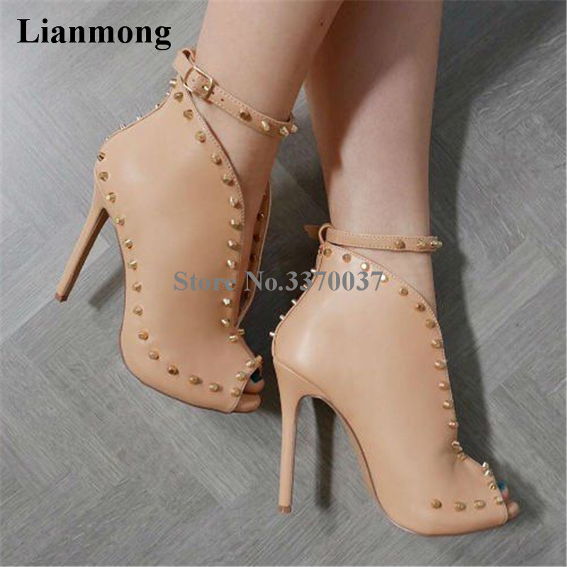 2018 New Design Women Fashion Open Toe Nude Leather Rivet Ankle Boots Cut-out Ankle Strap High Heel Spike Boots Dress Shoes адаптер переходник для шланга archimedes 90928