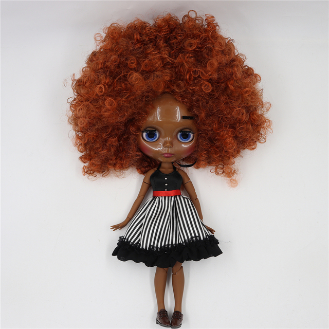 TBL Neo Blythe Doll Red Brown Afro Hair Jointed Body