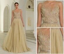 2016 A-line Champagne Schwere Perlen Arabischen Stil Ärmellose Tüll Abendkleid Frauen Formale Chiffon Abendkleid
