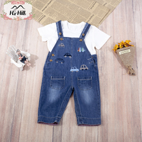 HG hill 8399 Spring Summer Leisure Baby Girls Boys Bib Pants with free T shirt Denim Overall Trousers Cartoon Cars Infant Jeans