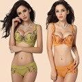 Mulheres elegantes 3/4 Embroidey Floral imprimir Underwire Push Up Balconette sutiã do sutiã 32 34 36 38 uma bc frete grátis novo 5006