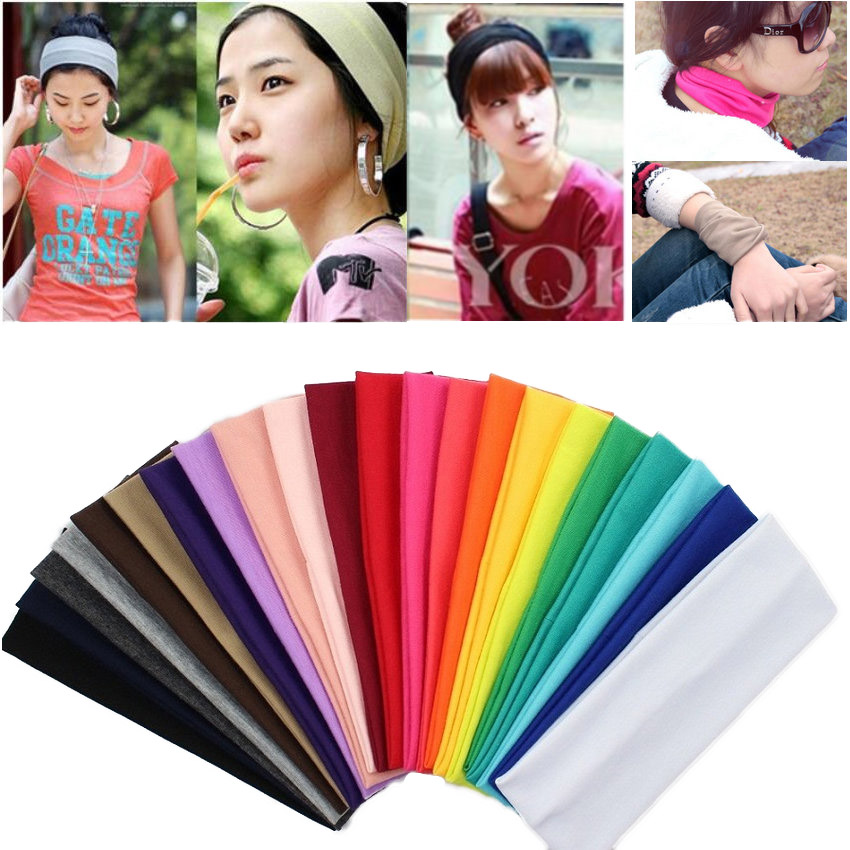 20pieces lot Cotton Elastic headbands for women 20 colors mixed wide headband Free shipping