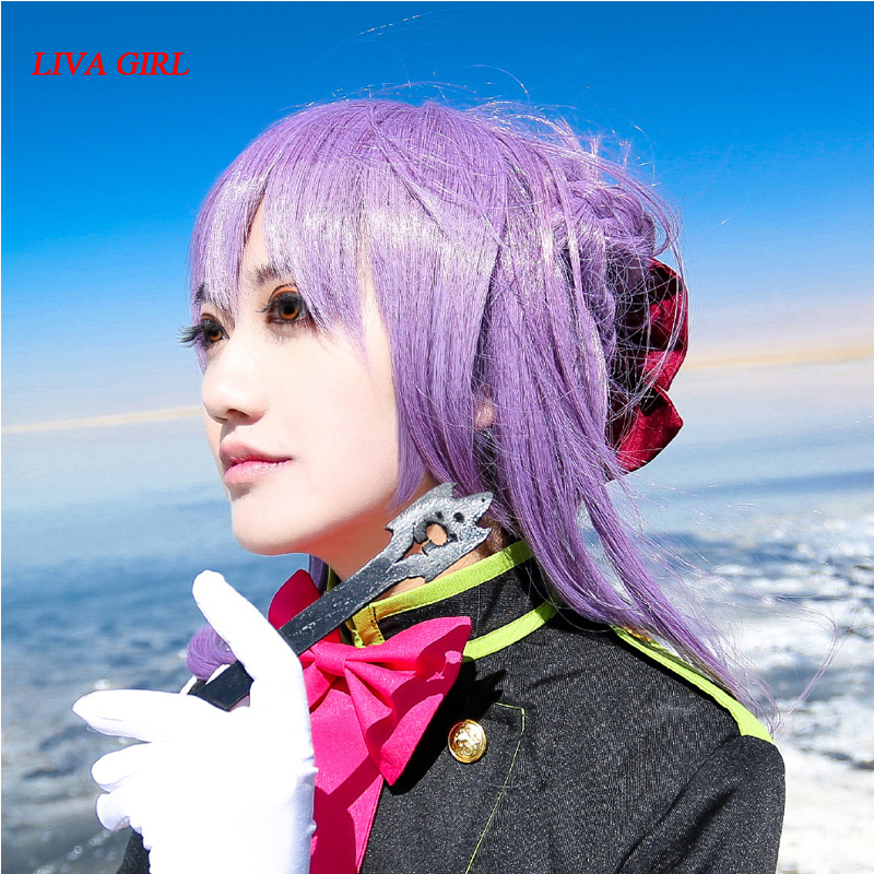 Seraph Of The End Hiiragi Shinoa High Quality Heat Resistant Synthetic Wig   Light Purple Sexy Synthetic Hair Cosplay Wigs