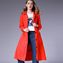 Oversize Womens long Korean trench Elegant coat Print turn down Collar cotton coats Large size ladies Early autumn new
