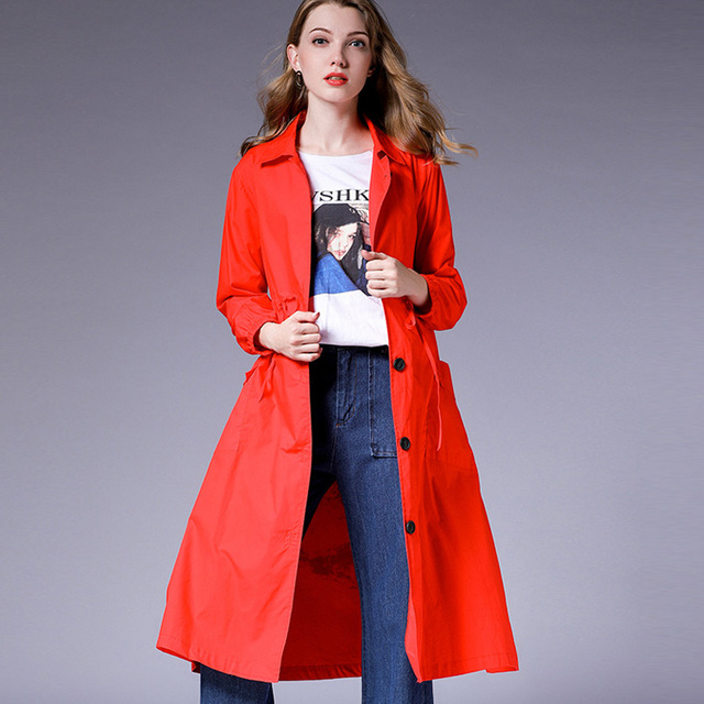 Oversize Womens long Korean trench Elegant coat Print turn down Collar cotton long coats Large size ladies' Early autumn new