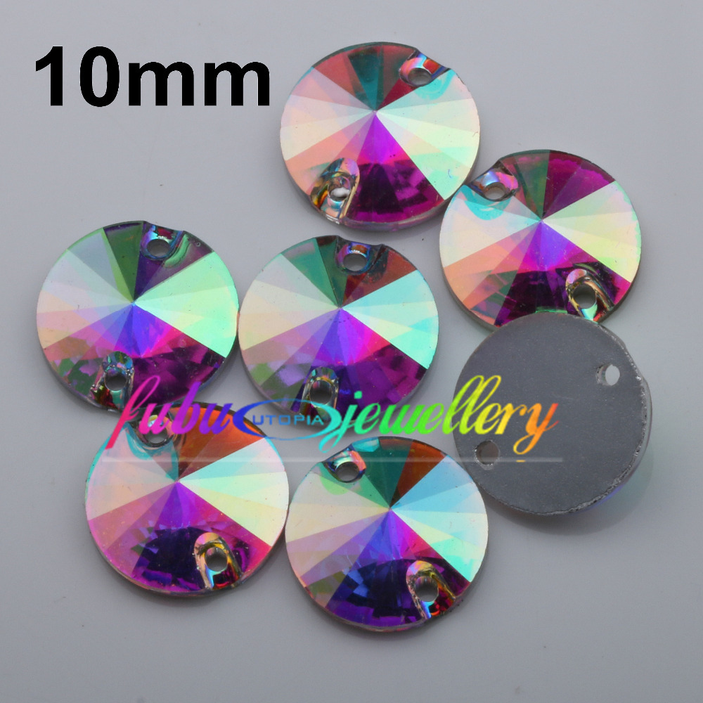 Free Shipping, 100pcs/Lot, 10mm Crystal AB / Clear AB Flat Back #3200 Rivoli Round Resin Sew On Stones