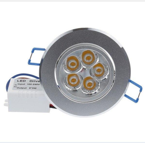 15 Вт 5x3 Вт потолочный светильник Epistar чип светодиодный потолочный светильник Встраиваемый свет 85 В-245 В для домашнего освещения 10 шт./лот Бесп...