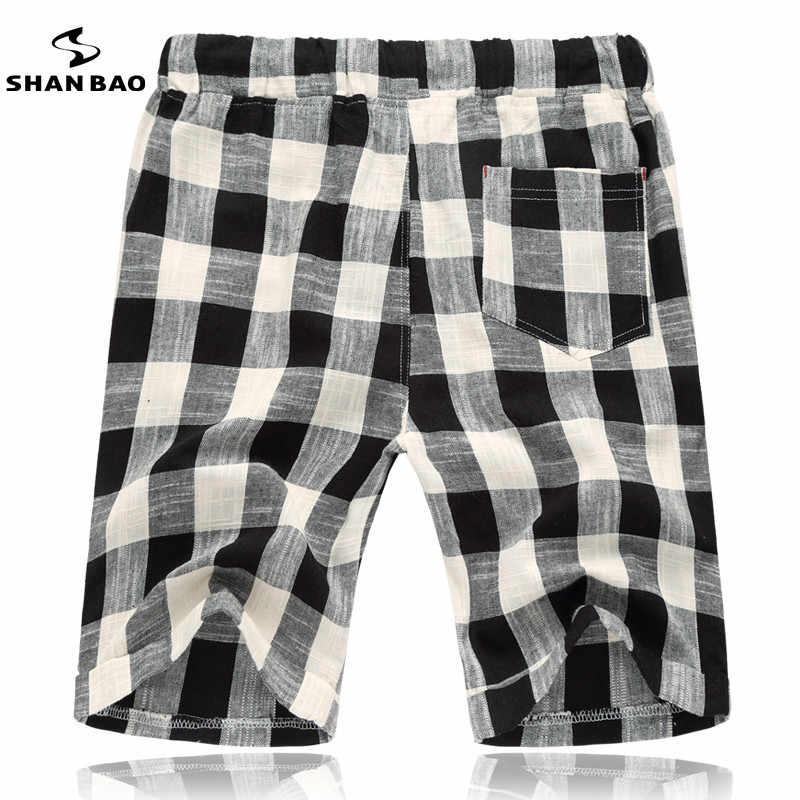 SHAN BAO marca Verano de 2019 los nuevos pantalones cortos de playa de moda para hombre con cuentas diseñador de joyas pantalones cortos de algodón a cuadros grandes tamaño M-5 xl