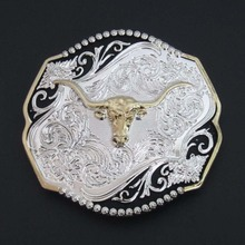 Longhorn Western Flower Floral Cowboy Cowgirl Style Silver and Gold Finish Belt Buckle