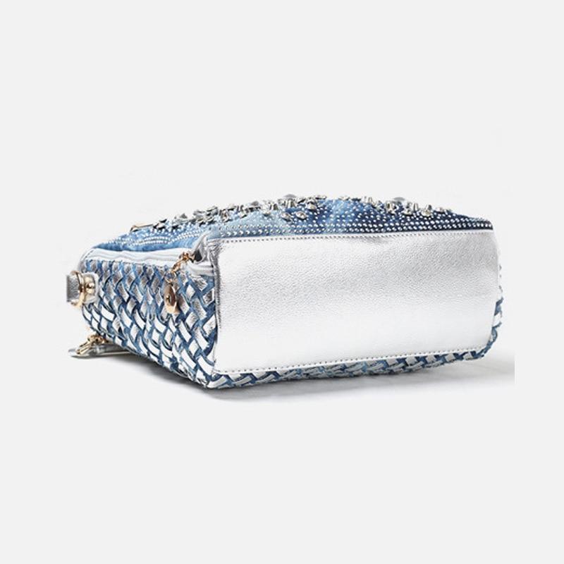 IPinee denim jean décontracté femmes sacs à main designer tissage sacs à bandoulière strass décoratif femmes messenger sac fourre-tout - 5