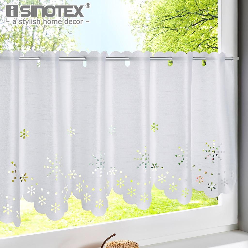 1pcs Hollow Snowflake Style White Kitchen Curtain Cafe Tube Translucidus Home Half-Curtain Window Treatment Tulle Curtains