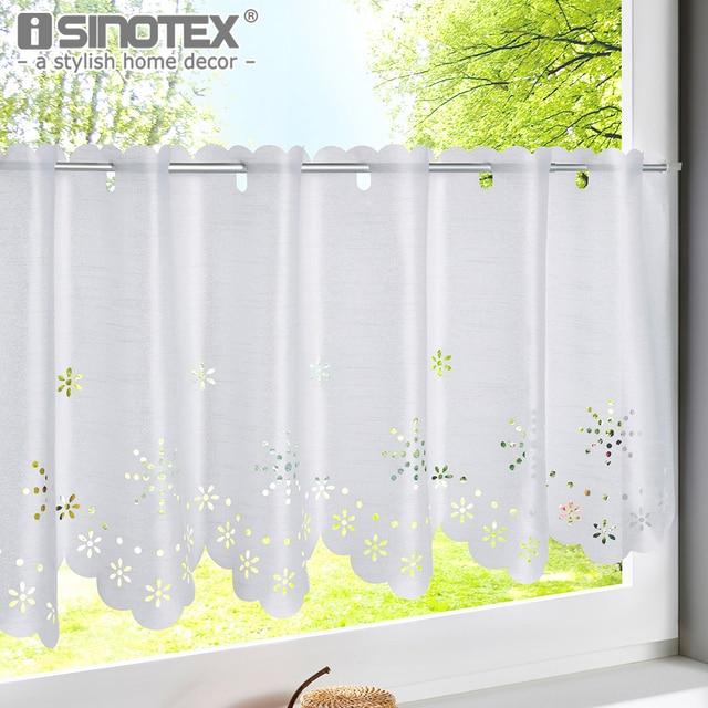 1pcs Hollow Snowflake Style White Kitchen Curtain Cafe Tube Translucidus Home Half Window Treatment