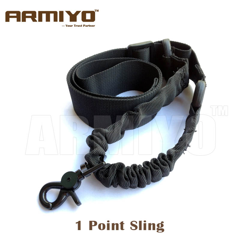 Armiyo 1 Point Sling Tactical Airsoft Gun Shoulder Strap Elastic Bungee Harnesses Nylon Hunting Shooting Paintball Accessories