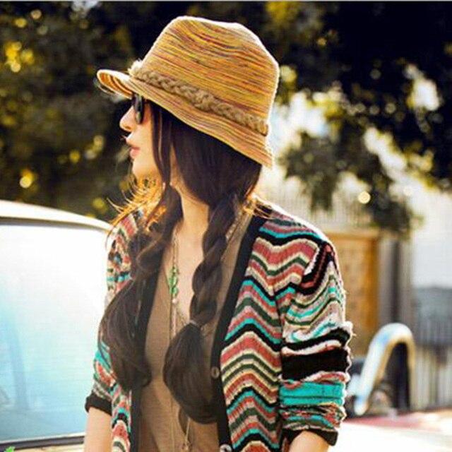 479185ac3ce Trendy Ladies Summer Beach Sun Bucket Hats Cap Fashion Spring Women Natural  Brim Trilby Straw Sunhat