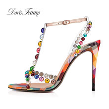 Doris Fanny open toe high heels 2019 summer shoes women sprinkled with multi-colored ankle strap women sandals(China)
