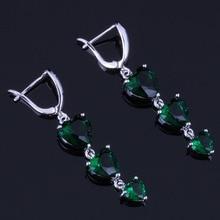 Jolly Heart Shaped Green Cubic Zirconia 925 Sterling Silver Drop Dangle Earrings For Women V0803 trendy heart shaped round green cubic zirconia 925 sterling silver drop dangle earrings for women v0830