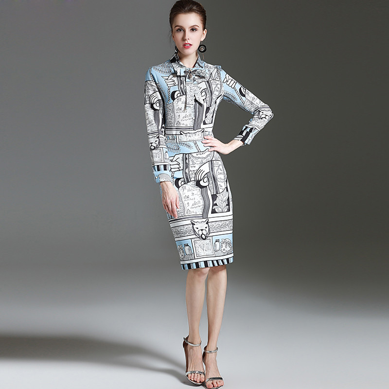 High Quality New 2017 Fashion Designer amazing Suit Set Women's Clothes Set 2 Piece Bow collar Printed Tops + Casual Skirt Set