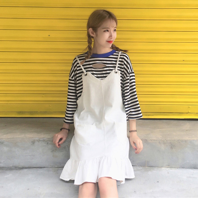 2018 Korean Style Ulzzang Fashion Women Solid Color Clothing Preppy Wind  Casual Dress Ruffles Hem Sweet