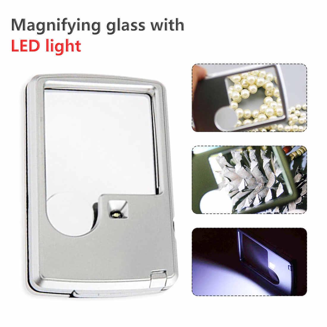 1PCS Kreditkarte 88*57*10mm 2 Objektiv Lupe Ultra-dünne Tragbare Platz Mikroskop Mit LED Licht Leder Fall Für Lesen Glas