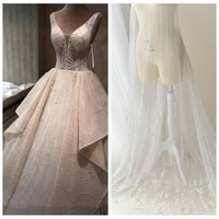 Luxury net tulle mesh lace with beads and sequins shiny lace for wedding dress! Top quality off white beading lace fabric 2019!