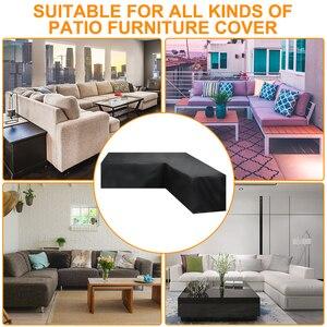Image 2 - Meble ogrodowe rattanowe narożne pokrycie zewnętrzne V kształt wodoodporna Sofa Protect Set pokrowce na sofy pokrowiec na meble ogrodowe