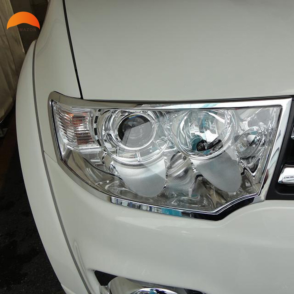 цена на For Mitsubishi Challenger Pajero Sport 2011 2012 2013 2014 ABS Chrome Front Head Light Cover Trim Headlight Hoods Car Styling
