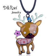 D&Rui Jewelry Christmas Birthday Gift Cute Cartoon Elk Deer Pendants & Necklaces for Children Boys Girls Charm Animal Necklace