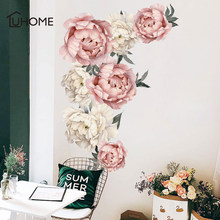 Large Peony Flowers Wall Sticker Vintage Watercolor Pink Flower Painting Removable Stickers Modern Home Decor Art Diy 102x71cm(China)