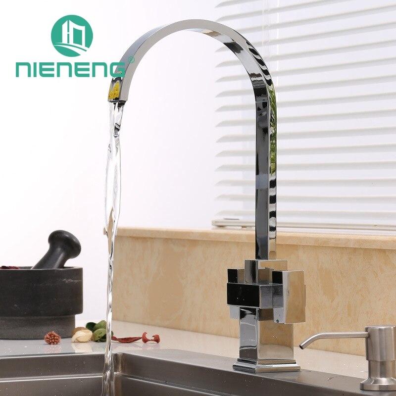 nieneng modern brass kitchen faucet double handle tap accessories luxury taps decoration kitchen sink mixer tools. Interior Design Ideas. Home Design Ideas