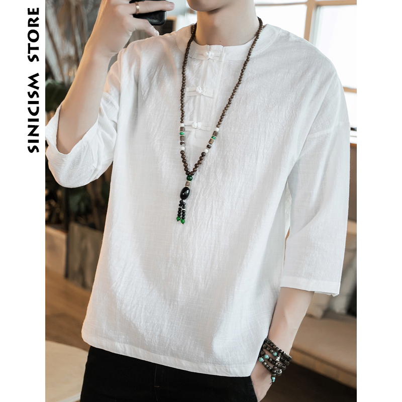 Sinicism Store Mens Cotton Linen T-Shirt Three Quarter Sleeve Summer Chinese Traditional Clothes Male Vintage Shirt Top Tees