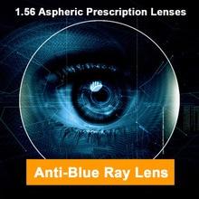 1.56 anti azul ray único visão homem e mulher lentes ópticas prescrição lentes de correção de visão para dispositivos digitais