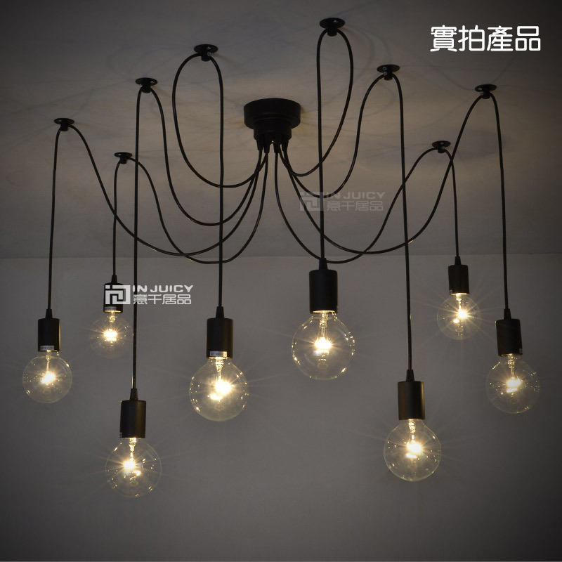 10 Lights Remote Control Edison Bar Club Ceiling Light 110V Or 220V Spider Cafe Coffe Shop Hanging Lamp loft edison vintage retro cystal glass black iron light ceiling lamp cafe dining bar hotel club coffe shop store restaurant