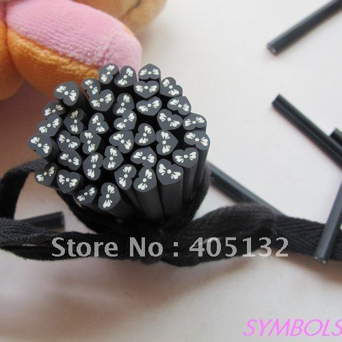 16200af811 US $10.0 |g 13 Free Shipping 100pcs 5mm Black Wing Heart Polymer Clay Cane  Fancy Nail Art Polymer Clay Cane-in Rhinestones & Decorations from Beauty &  ...