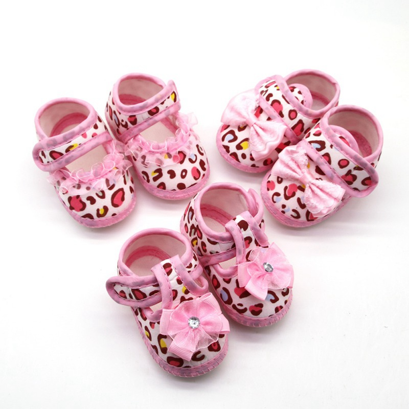 Newborn Baby Girl Shoes Breathable Leopard Lace Bow Anti-Slip Safe Shoe Walking Shoe Toddler Soft Soled First Walkers 0-18M
