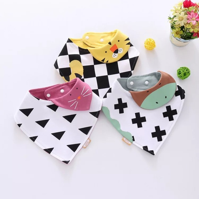 Reusable Washable Cotton Baby Bibs Burp Cloth Print Arrow Wave Triangle Bibs Cotton Adjustable Baby Meal Bib Infant Bibs