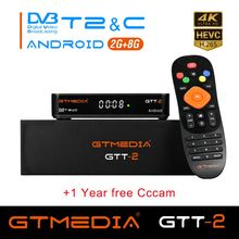 лучшая цена GTT2 Smart tv box android 6.0+DVB-T/T2/Cable 2GB 8GB Amlogic S905D Quad Core H.265 4K 2.4GHz WiFi Media Player 1GB 8GB X96 mini