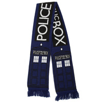 Dr Doctor Who Licensed Fourth 4th DELUXE Tom Baker Striped And Police Box Blue Scarf Hat