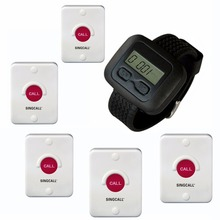 SINGCALL Wireless nurse Calling Systems for kitchen, hospital, KTV, coffee shop, 5 pagers,bells and 1 watch for restaurant
