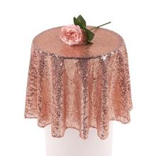Nordic 80cm Sequin Tablecloth Round Designed Glitter Rectangular Embroidered Table Cloth For Wedding Party