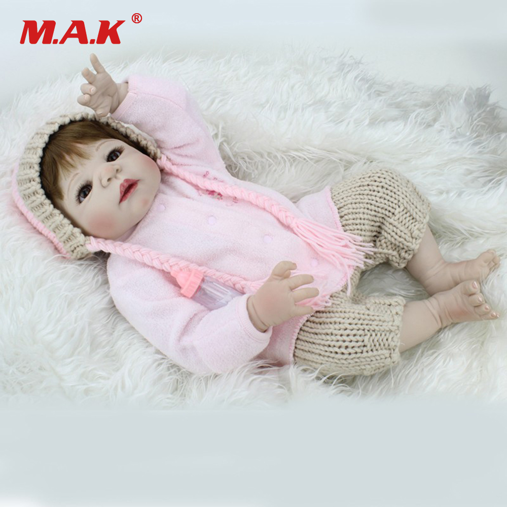 22 Inches Baby-Reborn Doll Gift for Kids Full Body Silicone 55cm Newborn Dolls Bebe Toys Reborn American Girl Children Birthday 2018 new style spring kids baby girl clothes 2pcs casual girl outfits sets denim jackets sleeveless dress vetement fille 13 14
