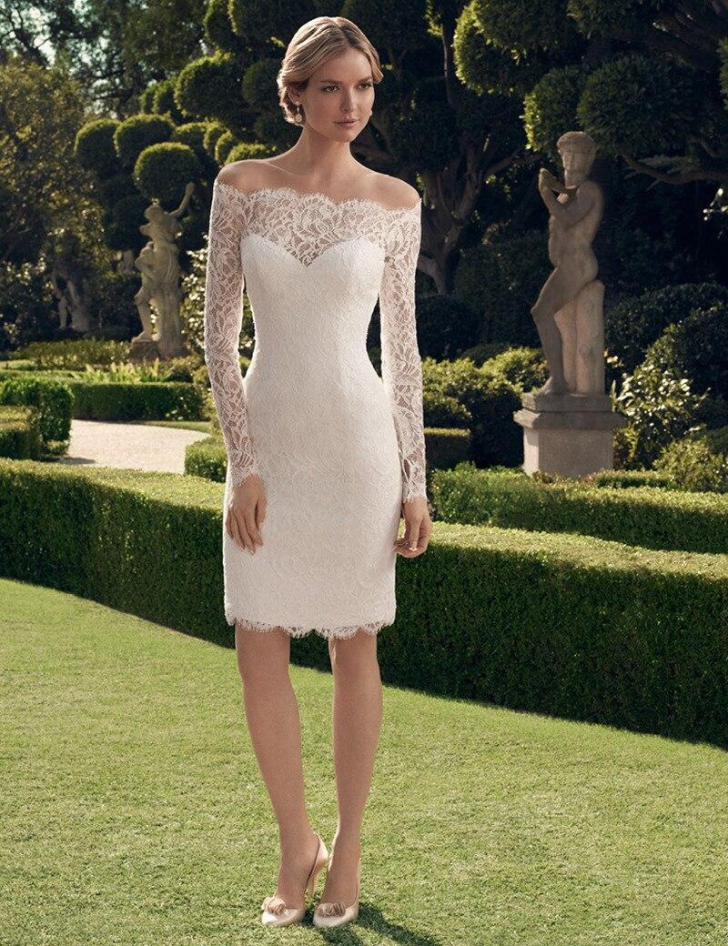 Vestido corto manga larga para boda