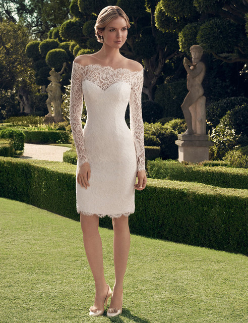 Simple Design Short Lace Wedding Dresses Long Sleeve Off Shoulder Sheath Above Knee Length Bridal Gowns