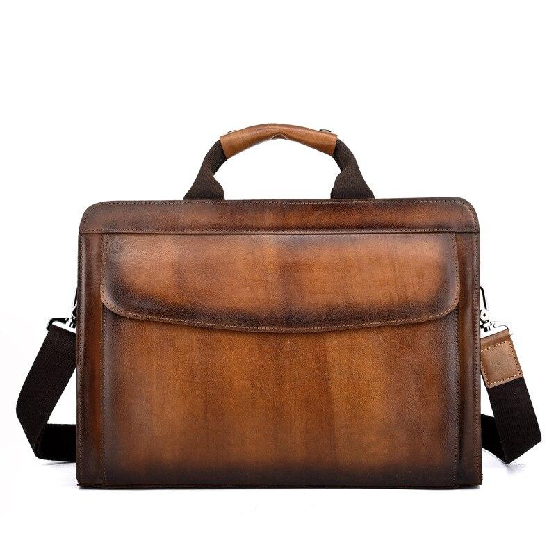 Новинка 2018, винтажная мужская сумка мессенджер через плечо из натуральной кожи, деловые сумки на молнии для планшета Ipad