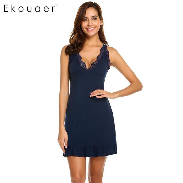 Ekouaer Sexy Lingerie Nightdress Women Nightwear V-Neck Sleeveless Ruffles Lace Chemise Nightgown Sleepwear Female Nightie Dress