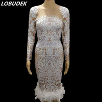 Whit Feathers AB Rhinestones Short&Long Dress Sexy Stretch Nightclub Stage Outfit Birthday Show Dress Party Celebration Dresses