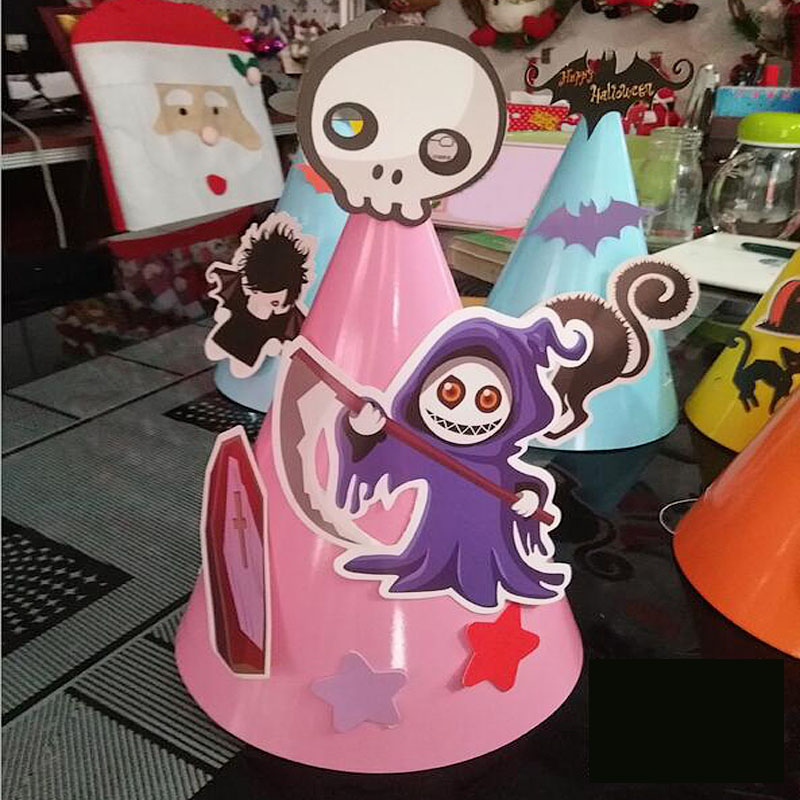 Huxiaomei Halloween Cartoon Cat Wizard Ghost Paper Hat Decor For ...