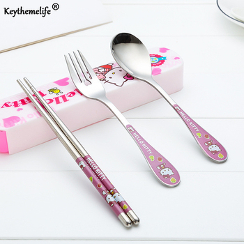 Keythemelife 3pcs/set Tableware Cartoon Hello kitty Cutlery Stainless Steel Dinnerware with Box Outdoor Dinner Set 2C