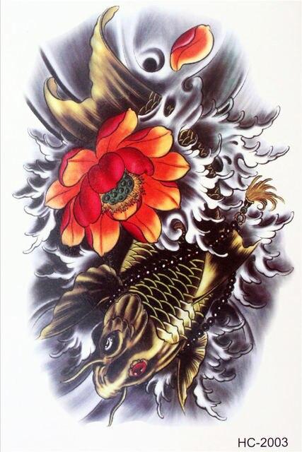 de40a82aa Body Art Beauty Makeup Cool Flower Japanese Carp Waterproof Temporary  Tattoo Stickers