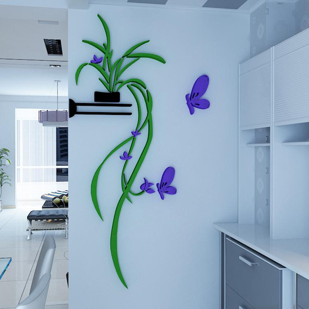 Diy vase flower tree crystal arcylic 3d wall stickers for Crystal home decorations